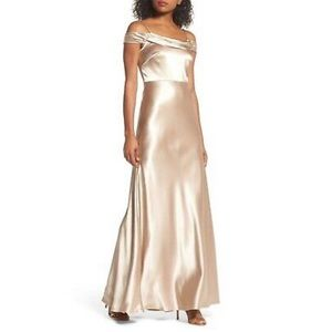 Jenny Yoo Serene Satin Off the Shoulder Gown/Dress